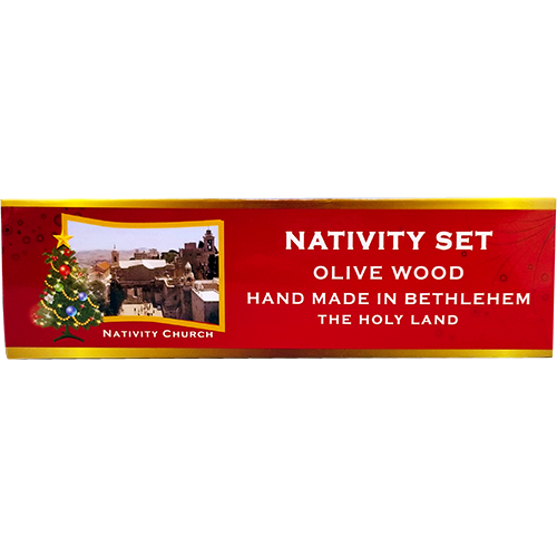 Holy Land 4 Ornament Olive Wood Nativity Set in Box hanging top of box