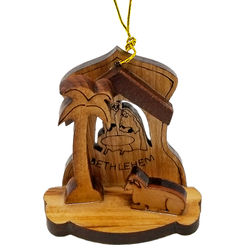 Boxed Set of 4 Holy Land Olive Wood Nativity Ornaments - Logos Trading Post, Christian Gift