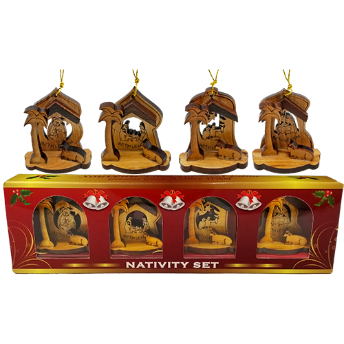 Holy Land 4 Ornament Olive Wood Nativity Set in Box in and out of box