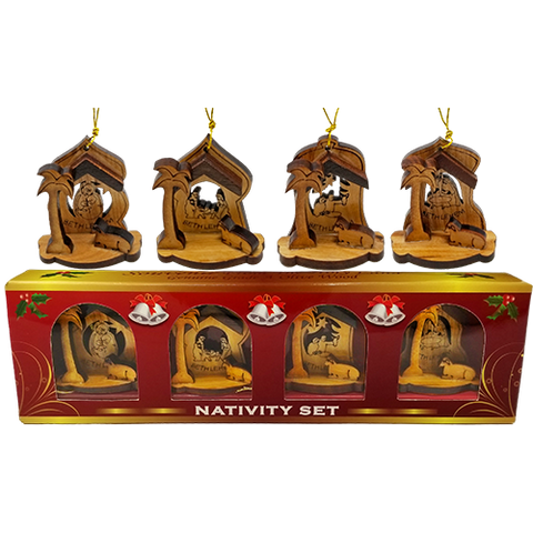 All 4 hanging olive wood nativity ornaments above the box that they are packaged in