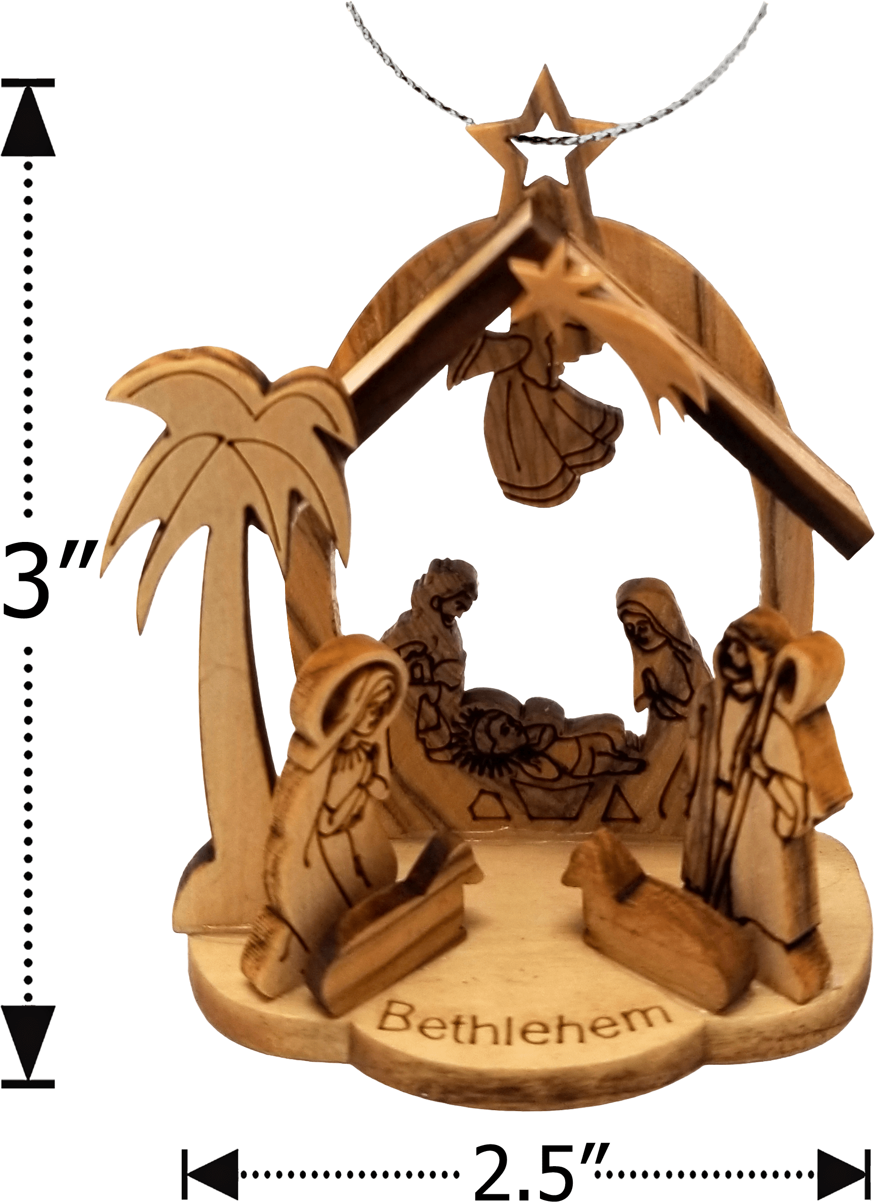 Holy Land Olive Wood Nativity Grotto - Small dimensions