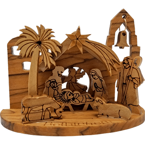 3D Nativity Grotto - Holy Land Olive Wood  - Medium