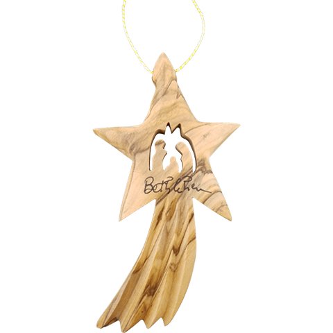 Bethlehem Shooting Star Nativity Ornament 2D- Holy Land Olive Wood (Large and Thick))