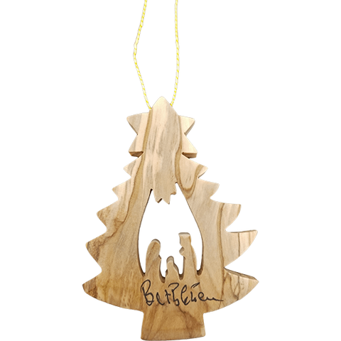 Bethlehem Pine Tree Nativity Ornament-2D-Holy Land Olive Wood  (Large and Thick))