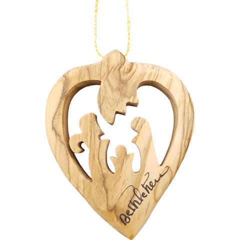 "Olive Wood Bethlehem Heart Nativity 3"" Ornament"