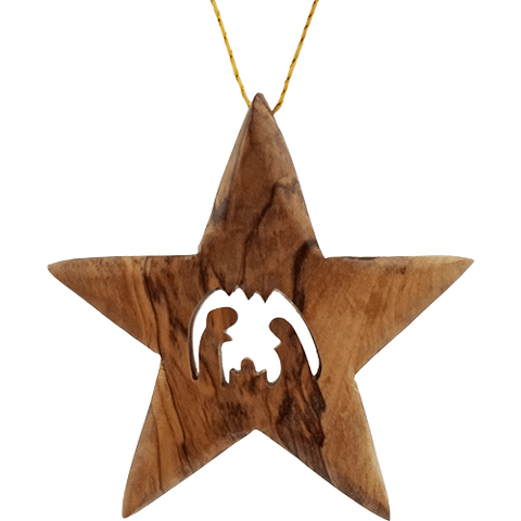 Star Nativity Ornament  - 2D- Holy Land Olive Wood Bethlehem - Large - Thick