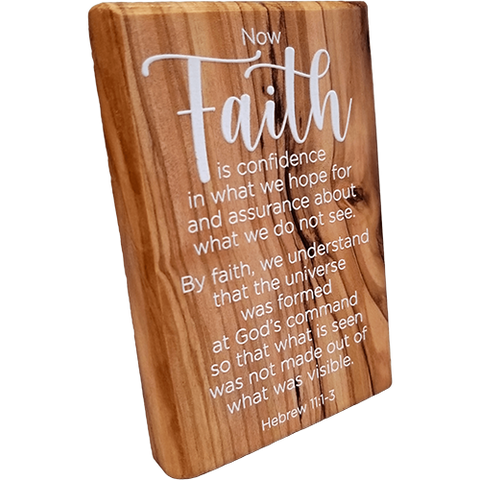 Holy Land Olive Wood Plaque with Bible Verse - Hebrew 11:1-3
