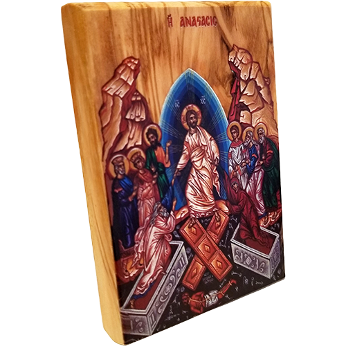 Holy Land Olive Wood Color Icon, the Resurrection of Jesus