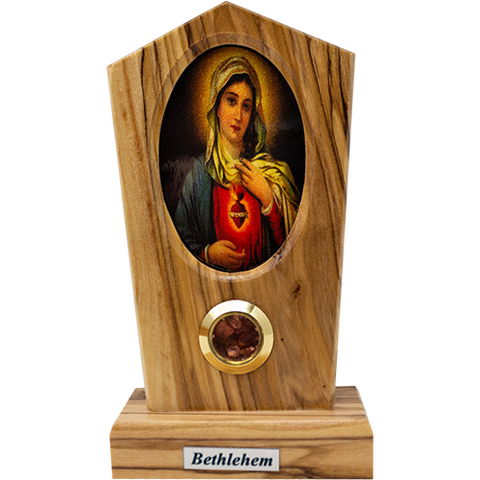 Virgin Mary Immaculate Heart Olive Wood Plaque from Israel, Full Color Center Portrait, Traditional Devotional Prayer Icon front view