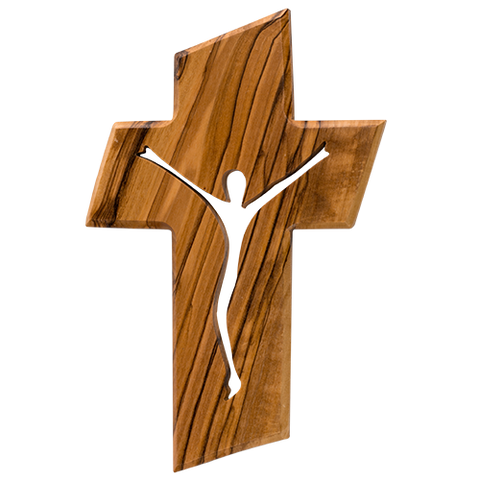 Jesus Cross, Olive Wood Hanging Wall Cross, Jesus Silhouette,  Wooden Wall Cross Décor, Gifts from Holy Land of Israel