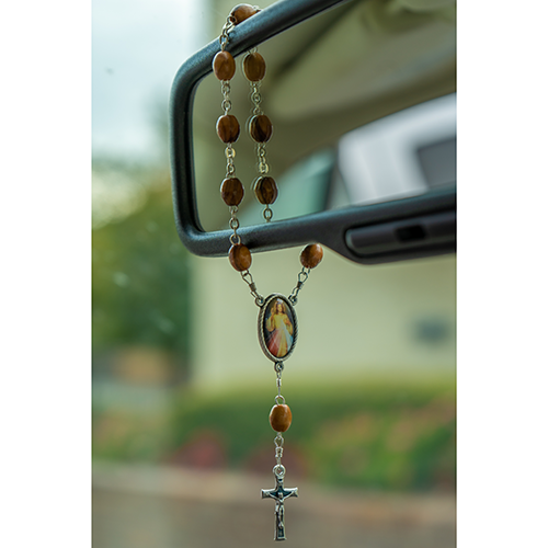 Jesus Divine Mercy, Holy Land Olive Wood Pocket Auto Rosary, Made in Bethlehem on a rearview mirror