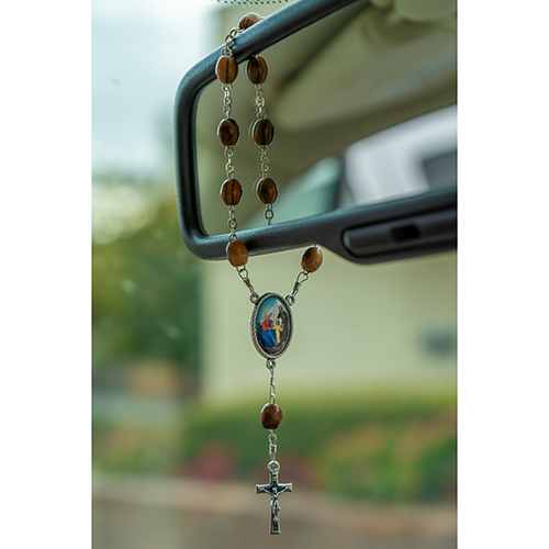 Holy Family, Holy Land Olive Wood Pocket Auto Rosary, Made in Bethlehem