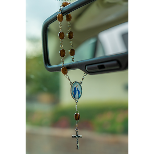 Our Lady of Grace, Holy Land Olive Wood Pocket Auto Rosary, Made in Bethlehem on rearview mirror