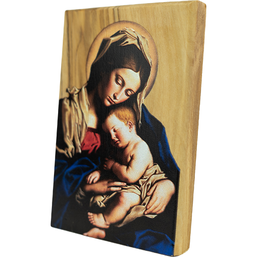 Madonna and Child, Holy Land Olive Wood Color Icon, Made in Bethlehem slanted view