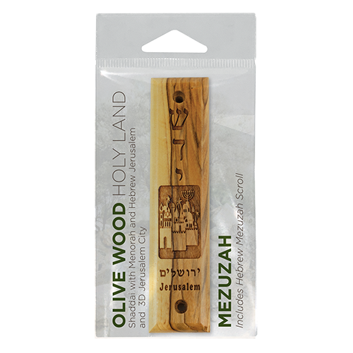 Shaddai & Jerusalem City Olive Wood Mezuzah with Scroll, Made in Israel, Religious Home Décor for Door & Wall, Includes Parchment Prayer Scroll, Jewish & Messianic House Wall Art in packaging