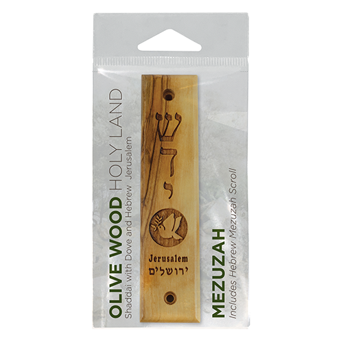 Shaddai & Dove with Olive Branch Olive Wood Mezuzah with Scroll,, Made in Israel, Religious Home Décor for Door & Wall, Includes Parchment Prayer Scroll, Jewish & Messianic House Wall Art in packaging