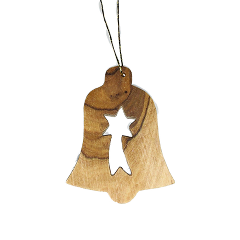Holy Land Olive Wood Ornament - Nativity Bell with Christmas Star