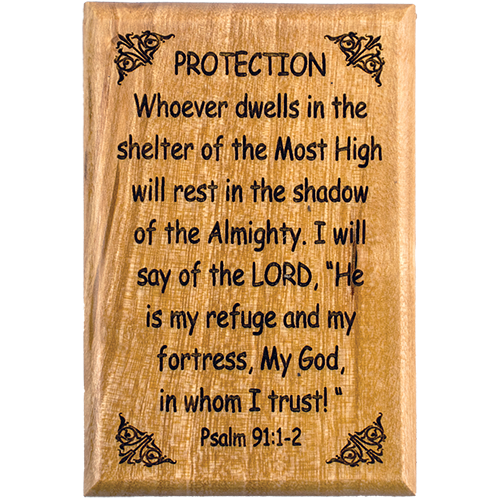 "Bible Verse Fridge Magnets, Protection - Psalm 91:1-2, 1.6"" x 2.5"" Olive Wood Religious Motivational Faith Magnets from Bethlehem, Home, Kitchen, & Office, Inspirational Scripture Décor front"