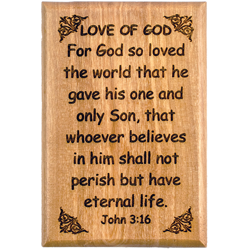 "Bible Verse Fridge Magnets, Love of God - John 3:16, 1.6"" x 2.5"" Olive Wood Religious Motivational Faith Magnets from Bethlehem, Home, Kitchen, & Office, Inspirational Scripture Décor front"