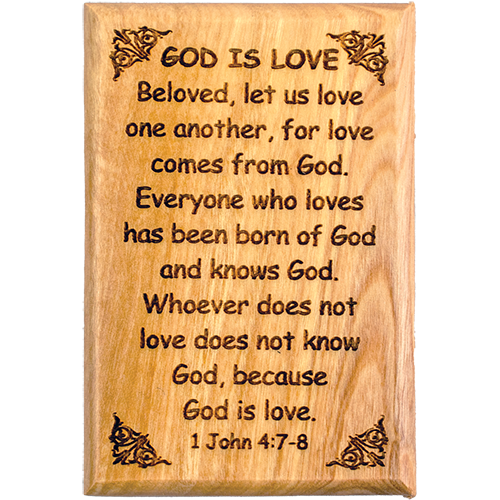 "Bible Verse Fridge Magnets, God is Love - 1 John 4:7-8, 1.6"" x 2.5"" Olive Wood Religious Motivational Faith Magnets from Bethlehem, Home, Kitchen, & Office, Inspirational Scripture Décor front"