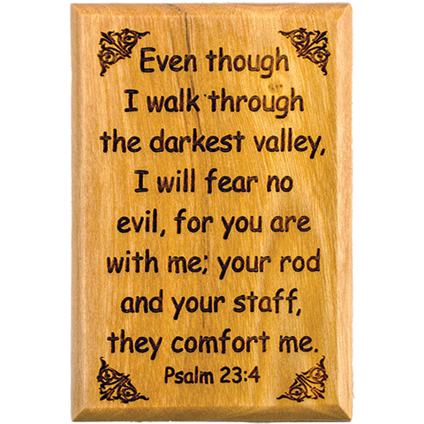 "Bible Verse Fridge Magnets, Fear no Evil - Psalm 23:4, 1.6"" x 2.5"" Olive Wood Religious Motivational Faith Magnets from Bethlehem, Home, Kitchen, & Office, Inspirational Scripture Décor front"