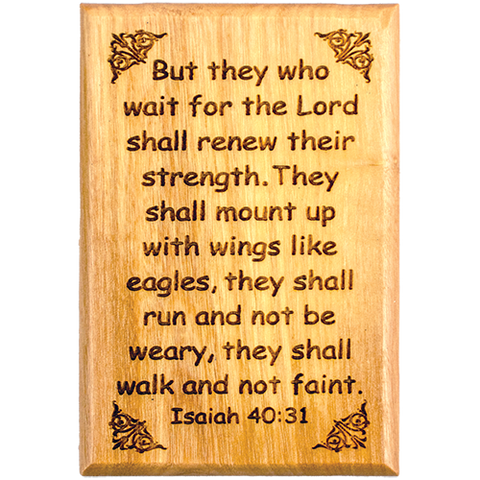 "Bible Verse Fridge Magnets, Wings Like Eagles - Isaiah 40:31, 1.6"" x 2.5"" Olive Wood Religious Motivational Faith Magnets from Bethlehem, Home, Kitchen, & Office, Inspirational Scripture Décor front"
