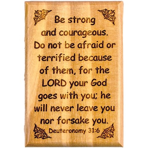"Bible Verse Fridge Magnets, Strong & Courageous - Deuteronomy 31:6, 1.6"" x 2.5"" Olive Wood Religious Motivational Faith Magnets from Bethlehem, Home, Kitchen, & Office, Inspirational Scripture Décor front"