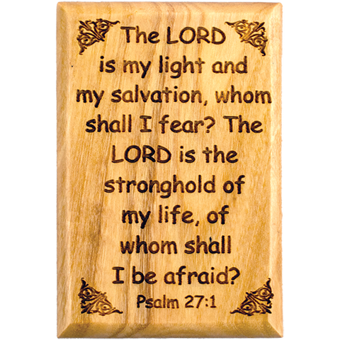 "Bible Verse Fridge Magnets, Lord is my Light - Psalm 27:1, 1.6"" x 2.5"" Olive Wood Religious Motivational Faith Magnets from Bethlehem, Home, Kitchen, & Office, Inspirational Scripture Décor front"