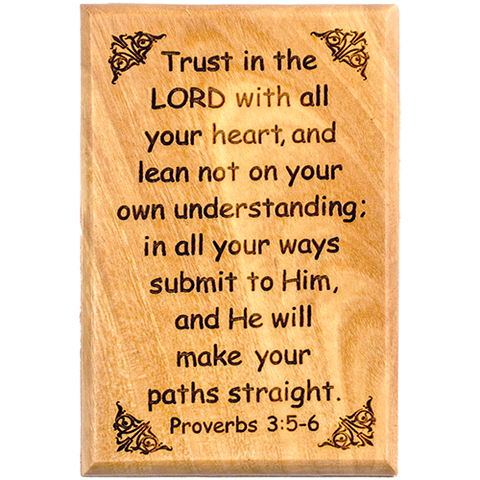 "Bible Verse Fridge Magnets, Trust in the Lord - Proverbs 3:5-6, 1.6"" x 2.5"" Olive Wood Religious Motivational Faith Magnets from Bethlehem, Home, Kitchen, & Office, Inspirational Scripture Décor front"