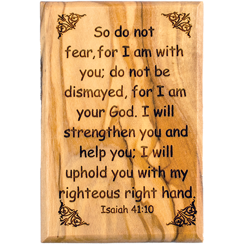 "Bible Verse Fridge Magnets, Do Not Fear - Isaiah 41:10, 1.6"" x 2.5"" Olive Wood Religious Motivational Faith Magnets from Bethlehem, Home, Kitchen, & Office, Inspirational Scripture Décor front"