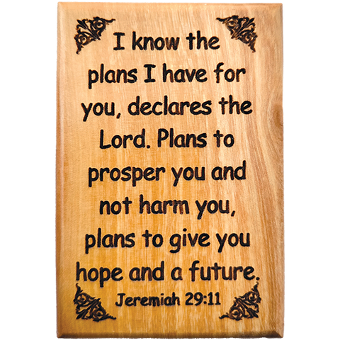 "Bible Verse Fridge Magnets, I Know the Plans - Jeremiah 29:11, 1.6"" x 2.5"" Olive Wood Religious Motivational Faith Magnets from Bethlehem, Home, Kitchen, & Office, Inspirational Scripture Décor front"