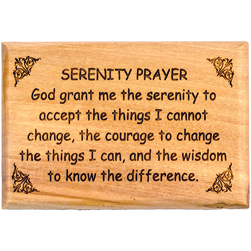 "Bible Verse Fridge Magnets, Serenity Prayer, 1.6"" x 2.5"" Olive Wood Religious Motivational Faith Magnets from Bethlehem, Home, Kitchen, & Office, Inspirational Scripture Décor"