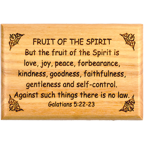 "Bible Verse Fridge Magnets, Fruit of the Spirit - Galatians 5:22-23, 1.6"" x 2.5"" Olive Wood Religious Motivational Faith Magnets from Bethlehem, Home, Kitchen, & Office, Inspirational Scripture Décor"