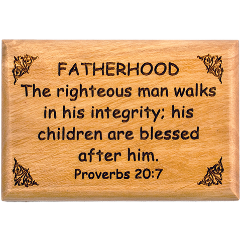 "Bible Verse Fridge Magnets, Fatherhood - Proverbs 20:7, 1.6"" x 2.5"" Olive Wood Religious Motivational Faith Magnets from Bethlehem, Home, Kitchen, & Office, Inspirational Scripture Décor"