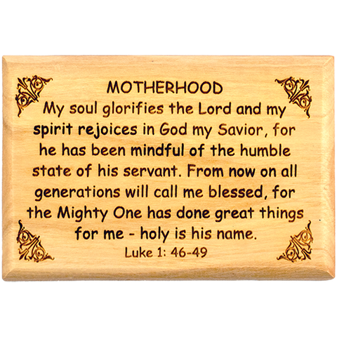 "Bible Verse Fridge Magnets, Motherhood - Luke 1:46-49, 1.6"" x 2.5"" Olive Wood Religious Motivational Faith Magnets from Bethlehem, Home, Kitchen, & Office, Inspirational Scripture Décor front"