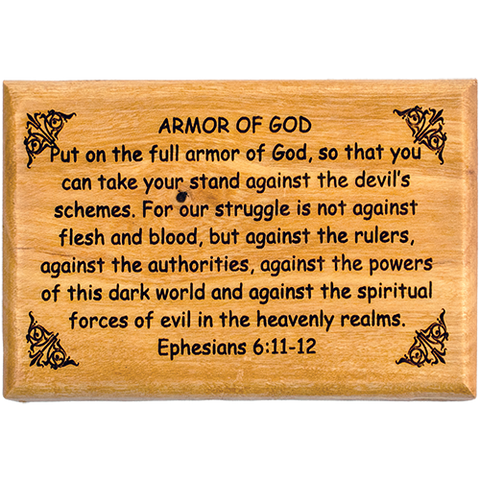"Bible Verse Fridge Magnets, Armor of God - Ephesians 6:11-12, 1.6"" x 2.5"" Olive Wood Religious Motivational Faith Magnets from Bethlehem, Home, Kitchen, & Office, Inspirational Scripture Décor front"