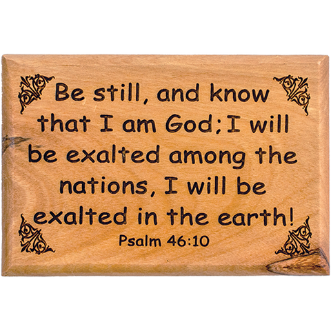 "Bible Verse Fridge Magnets, Be Still & Know - Psalm 46:10, 1.6"" x 2.5"" Olive Wood Religious Motivational Faith Magnets from Bethlehem, Home, Kitchen, & Office, Inspirational Scripture Décor front"