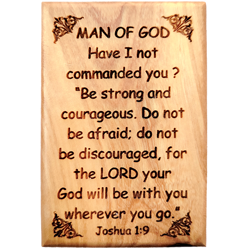"Bible Verse Fridge Magnets, Man of God - Joshua 1:9, 1.6"" x 2.5"" Olive Wood Religious Motivational Faith Magnets from Bethlehem, Home, Kitchen, & Office, Inspirational Scripture Décor"