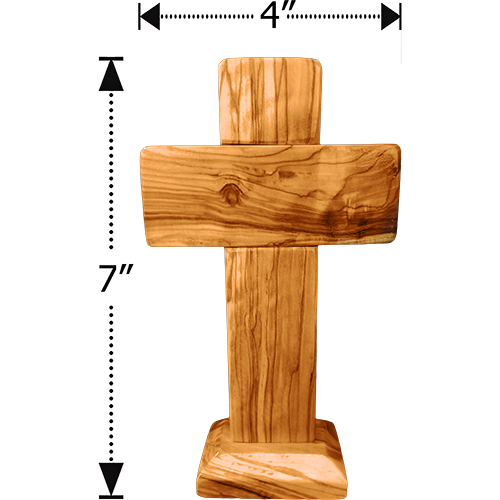 "Holy Land 7"" Genuine Olive Wood Standing Cross"