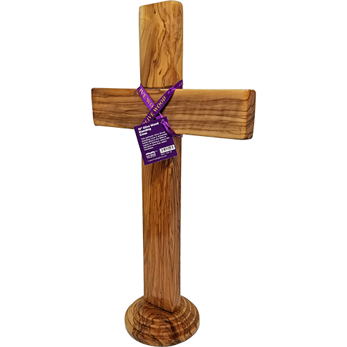 "Holy Land 15"" Genuine Olive Wood Standing Cross pivoted left"
