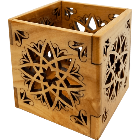 Olive Wood Ornate Tealight, Flameless Votive