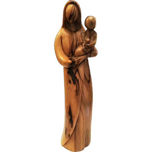 Holy Land Olive Wood Statue - Virgin Mary with Child