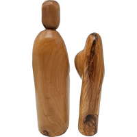 Holy Land Olive Wood Statue - Holy Family Nested, 2 Pieces - Logos Trading Post, Christian Gift