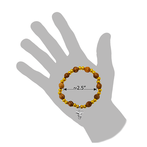 Olive Wood Stretch Bracelet, Gold Beads and Cross/Dove Dangle dimension