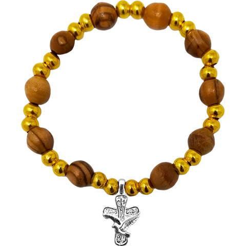 Holy Land Olive Wood Stretch Bracelet, Gold Beads and Cross/Dove Dangle