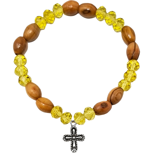 Holy Land Olive Wood Stretch Bracelet, Yellow Beads and Cross Dangle - Logos Trading Post, Christian Gift