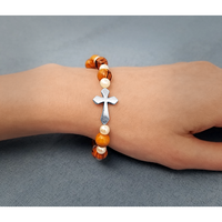 Holy Land Olive Wood Stretch Bracelet, White Beads and Inlet Cross - Logos Trading Post, Christian Gift