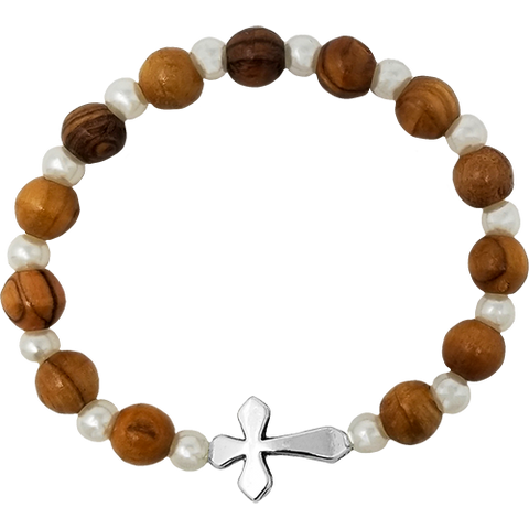 Holy Land Olive Wood Stretch Bracelet, White Beads and Inlet Cross