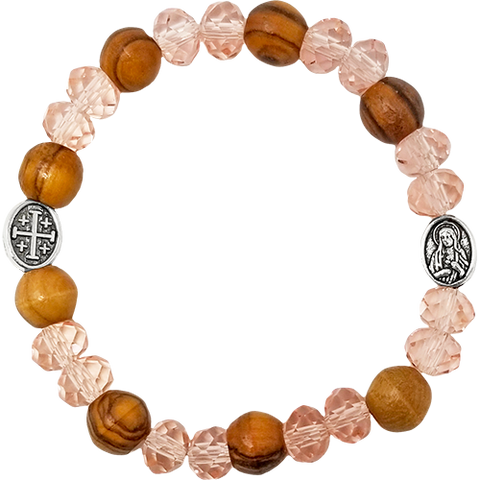 Holy Land Olive Wood Stretch Bracelet, Pink Beads and Jerusalem Cross / Virgin Mary