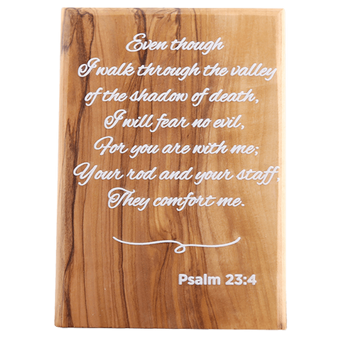 Holy Land Olive Wood Plaque with Bible Verse - Psalm 23:4